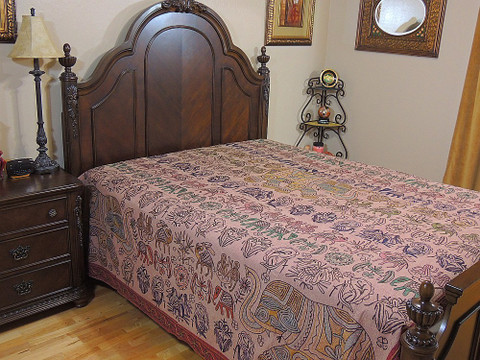 India Inspired Embroidered Bedspread Tapestry Unique Coral Ethnic Room Decor