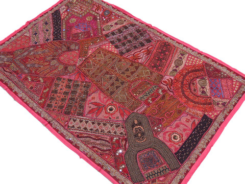 Hot Pink Fabric Wall Hanging - Wood Bead Traditional Indian Decor Tapestry 60""