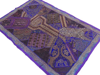 Bedroom Decoration Wall Hanging - Purple Handmade Wood Beads Tapestry 60""