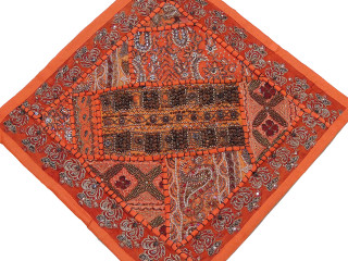Orange Throw Pillow Cover - Decorative Bright Indian Wood Beaded Cushion 16""