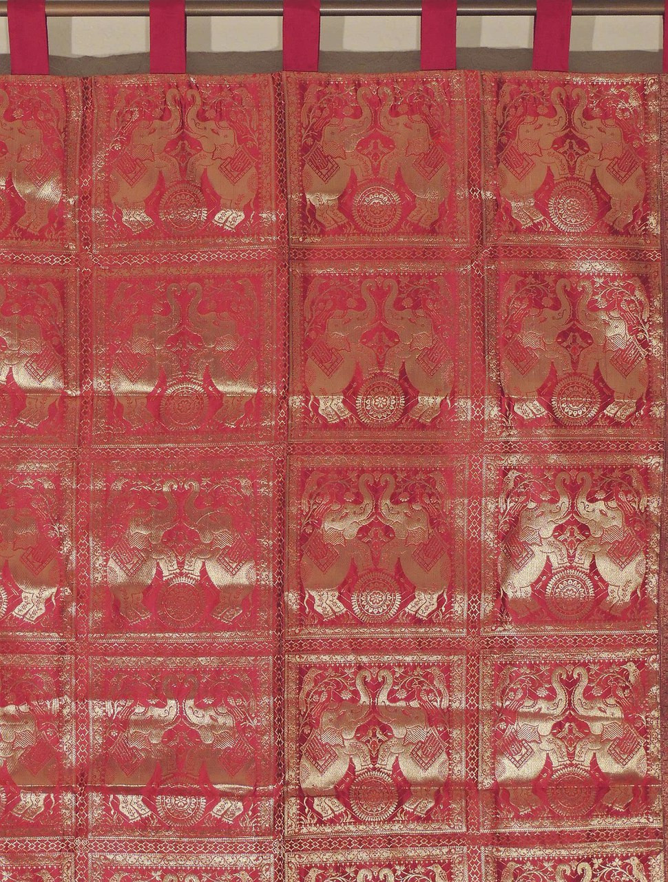 Elephant curtain red brocade traditional indian living - Curtain ideas for living room india ...