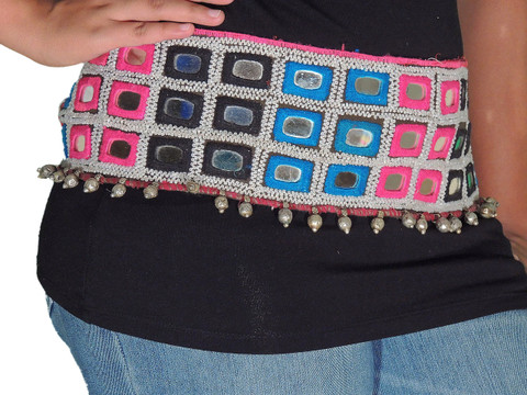 Fashion Waist Belt - Cool Hippy Chic Embroidered Mirror Dress Accessory ~ One Size
