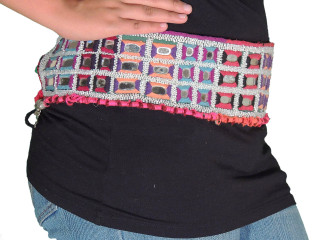 Beaded Belly Dance Belt - Large Mirror Work Gypsy Dress Accessory ~ One Size