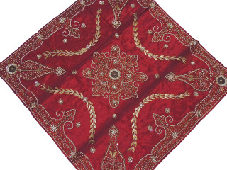 """Elegant Burgundy Tablecloth - Gold Beaded Embroidered Party Overlay 40"""""""