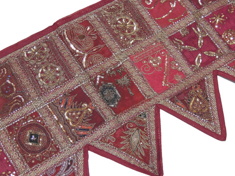 Maroon Colored Valance - Sequin Sari Patchwork Window Toran 60""