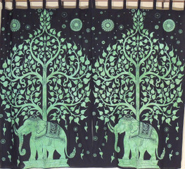 Green Bay Window Curtains - 2 Tree of Life Elephant Indian Cotton Panels 78""