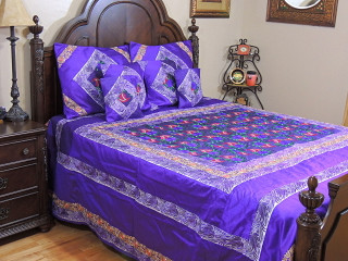 Purple Parsi Embroidery Duvet Cover Set - Luxury 7P Indian Bedding ~ King