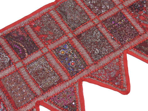 Adorable Red Ornate Window Valance - Beautiful Kundan Patchwork Door Topper Toran 60""