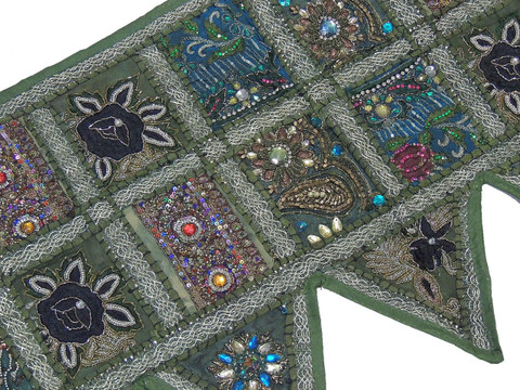 "Green Ethnic Decor Window Valance - Embellished Handmade Unique 60"" Long Topper Toran"