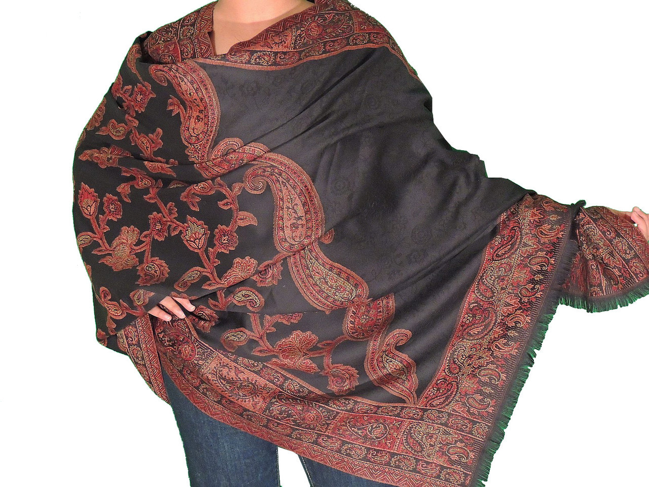 380a8de93bc61 Black Wool Evening Scarf Wrap - Cozy Floral Weave Jacquard Dressy ...