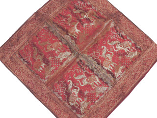 Elephant Maroon Zari Brocade Cushion Cover - Beautiful Stylish Decorative Euro Sham 26""