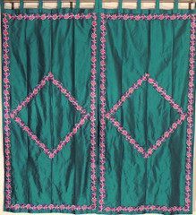 Green Trellis Fine Embroidered Curtains - 2 Elegant Indian Window Treatments Panels 82""