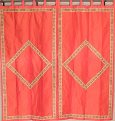 Orange Luxurious Dupioni Window Dressing - 2 Trendy Fine Embroidery Curtain Panels 82""