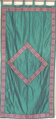 Green Luxurious Dupioni Window Dressing - Trendy Fine Embroidery Curtain Panel 82""