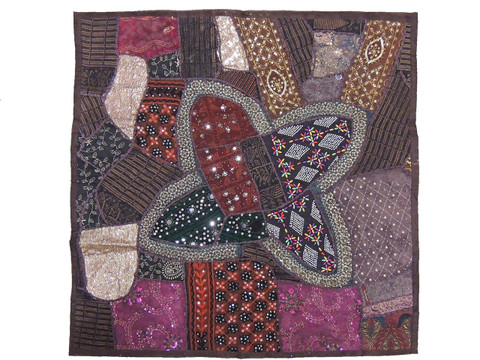 """Brown Square Wall Hanging Accent - Decorative Beaded Tapestry Indian Textile 38"""""""