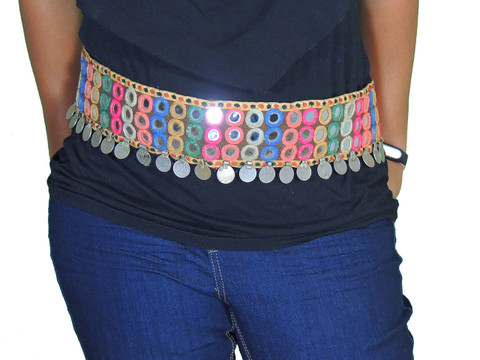 Multicolor Belly Dance Waist Belt - Gypsy Embroidered Mirror Coin Accessory ~ Free Size
