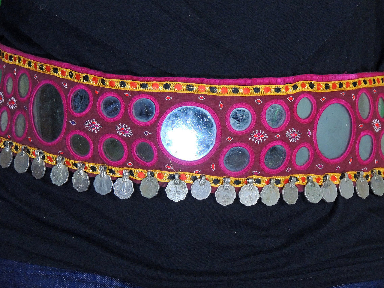 f07032ba1 Ethnic Tribal Belly Dancing Belt - Coin Mirror Work Handmade Accessory ~  One Size; Image 2; Image 3