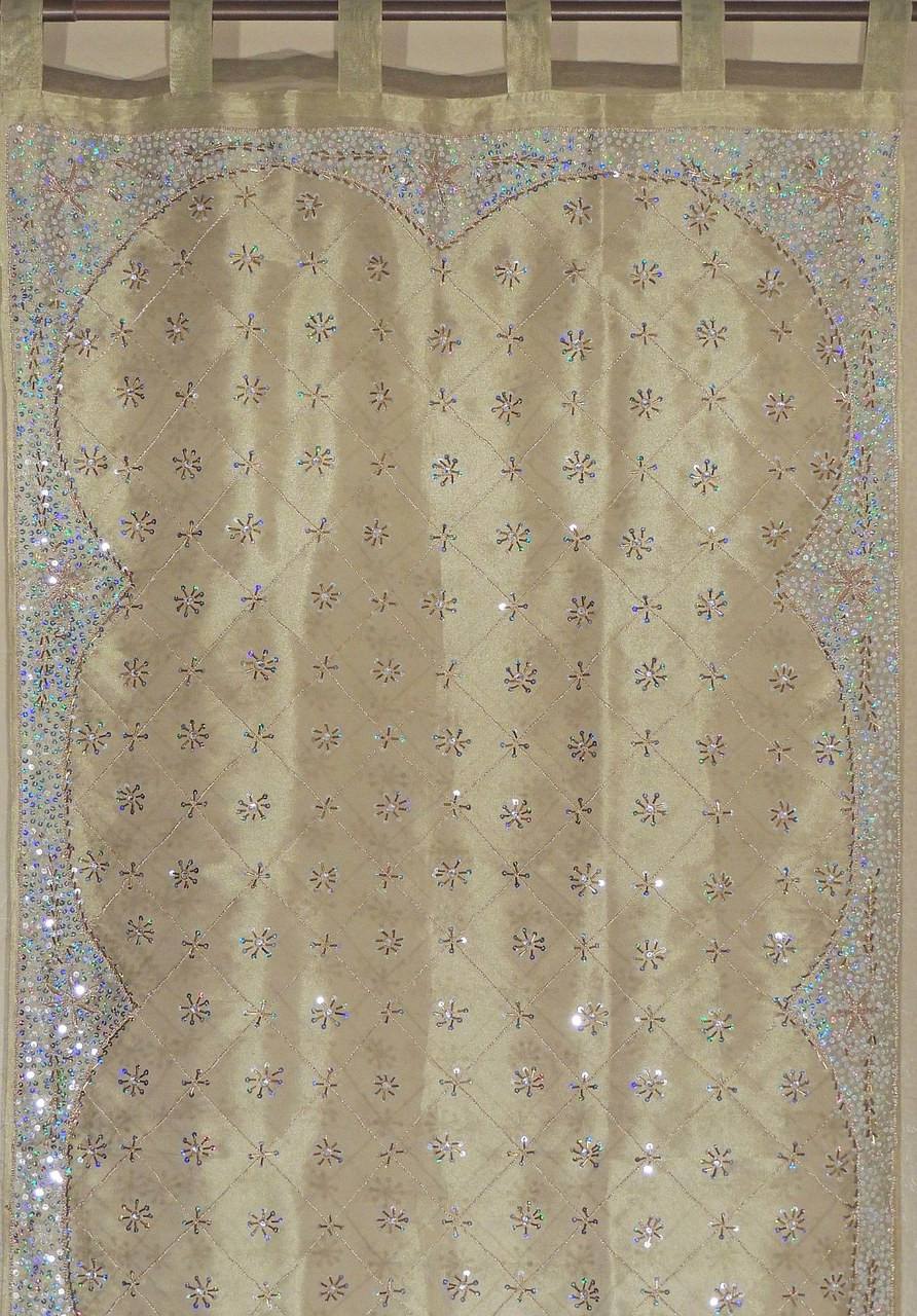 Olive Green Gold Sheer Curtain Panel Hand Embroidered