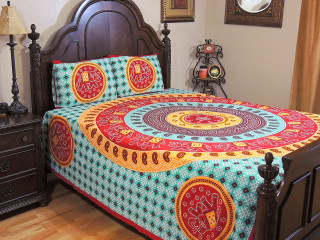 Green Mandala Gajaraj Bedding Set – Dot Print Cotton Sheet Pillowcases ~ Queen