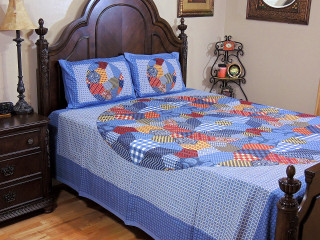 Blue-Gray Geometric Cotton Bedding Set – Indian Printed Sheet and Pillowcases ~ Queen