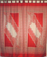 Red Beige Woven Curtain Panels - Jamawar Paisley Patterned Window Treatments 90""