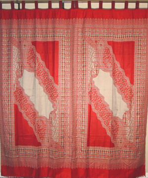 """Red Beige Woven Curtain Panels - Jamawar Paisley Patterned Window Treatments 90"""""""