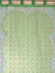 Green Zardozi Sheer Curtain Panel - Hand Embroidered Beaded Window Treatments 92""