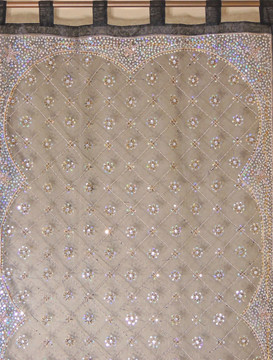 "Black Zardozi Sheer Curtain Panel - Hand Embroidered Beaded Window Treatments 92"""