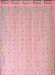 Pink Zardozi Sheer Curtain Panel - Hand Embroidered Beaded Window Treatments 92""