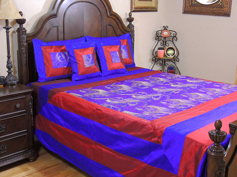 Blue Maroon Mor Pankh Bollywood Bedding - 5P Decorative Embroidered Set ~ Queen