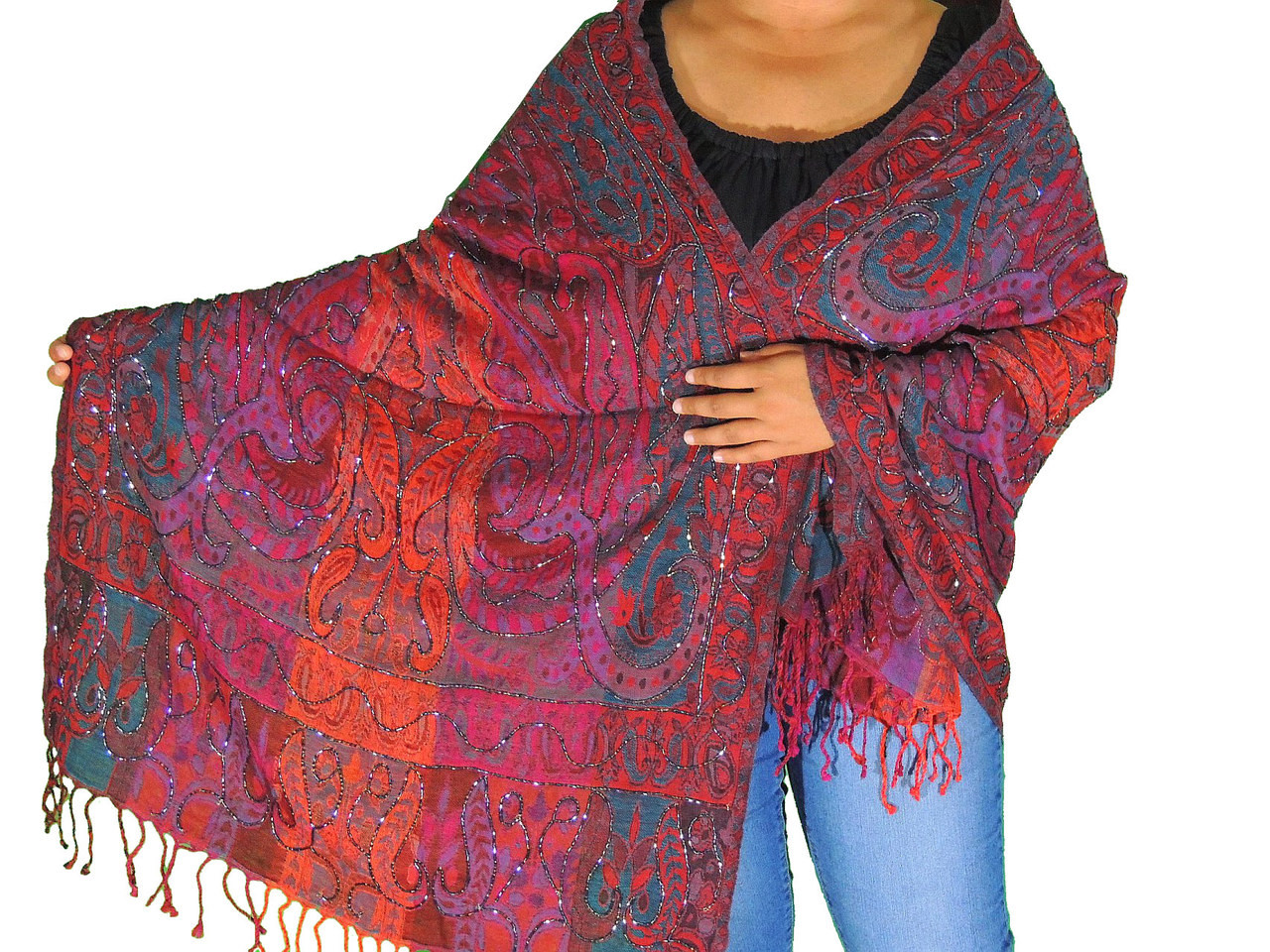 9b56d427489d2 Boho Beaded Wool Dressy Shawl Wrap - Paisley Kashmir Ladies Evening ...