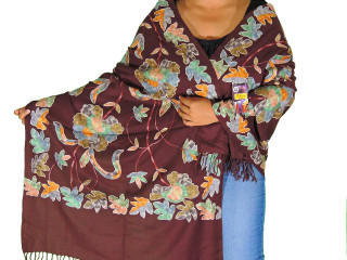 Dark Chocolate Floral Embroidered Shawl - Wool Women's Designer Scarf 80""