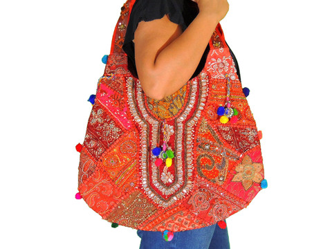 Red Maroon Fashion Women Shoulder Bag - Sari Beaded Embroidered Exclusive Handbag