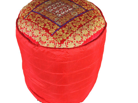 """Red Round Traditional Indian Pouf Cover - Gold Crewel Embroidered Ottoman 18"""""""