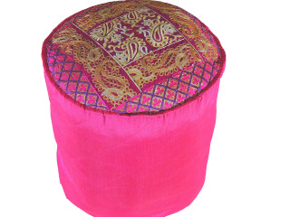 Magenta Round Traditional Indian Pouf Cover - Gold Crewel Embroidered Ottoman 18""