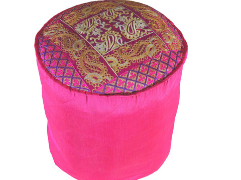 """Magenta Round Traditional Indian Pouf Cover - Gold Crewel Embroidered Ottoman 18"""""""