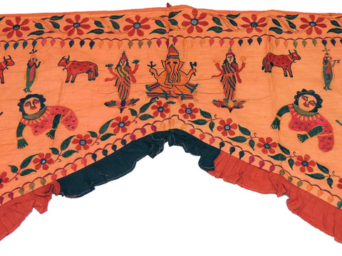 "Orange Embroidered Ganesha Krishna Valance Toran - Vintage Doorway Topper Gate 77"" x 58"""
