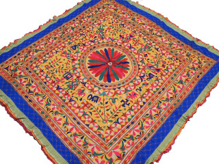 "Banjara Embroidery Tribal Handicraft Tapestry - Yellow Vintage Wall Hanging Decor 68"" x 64"""