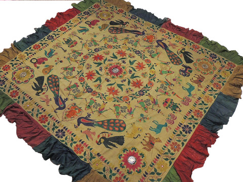 "Khaki Kutch Embroidery Wall Hanging Tapestry - Vintage Ganesha Peacocks Indian Decoration 83"" x 77"""