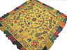 "Yellow Kutch Embroidery Wall Hanging Tapestry - Vintage Ganesha Peacocks Ethnic Decor 78"" x 75"""