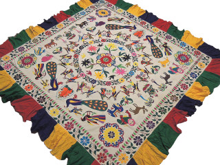 "Bohemian Ganesha Peacock Embroidered Tapestry - Vintage Kutch Huge Wall Hanging 85"" x 81"""