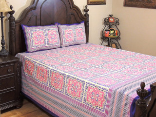 Pink Mauve Floral Cotton Bedspread – Ethnic Luxury Bed Sheet Pillowcases ~ Queen