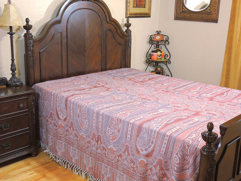 Coral Paisley Kani Cashmere Bedding - Shabnam Reversible Eclectic Wool Blanket ~ Queen
