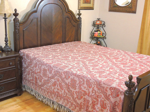 Ivory Coral Cashmere Mallika Bedding - Paisley Kani Reversible Wool Blanket ~ Queen