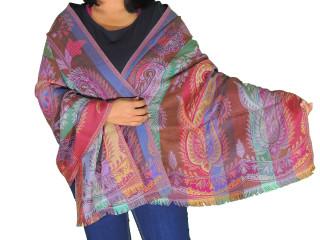 "Bohemian Paisley Warm Wool Shawl - Kashmir Jamawar Ladies Evening Scarf 78"""