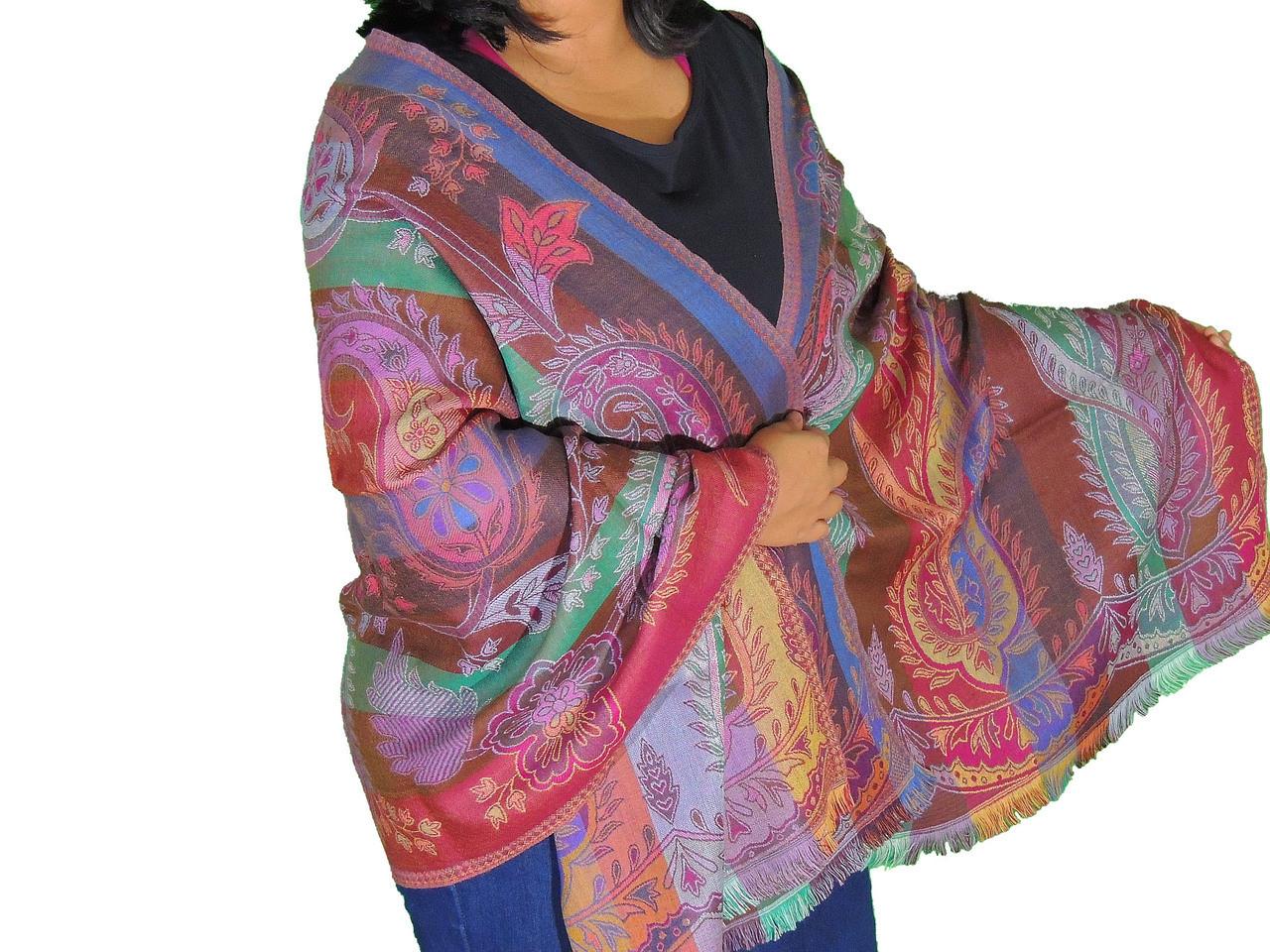 1237fd7a3c Bohemian Paisley Warm Wool Shawl - Kashmir Jamawar Ladies Evening Scarf  78