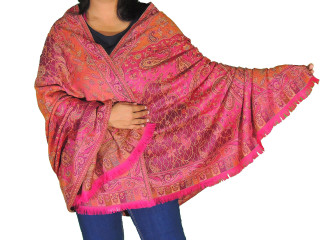 Magenta Coral Paisley Wool Shawl - Trendy Evening Dress Wrap Afghan 80""