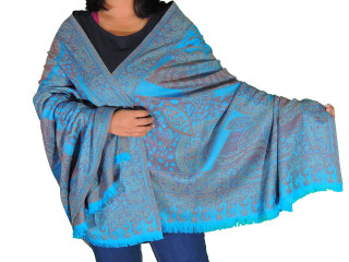 """Blue Wool Embroidered Formal Shawl - Floral Warm Special Occasion Wrap 80"""""""