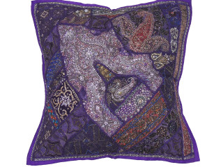 Purple Living Room Floor Pillow Cover - Handmade Artisan Moti Beaded Euro Sham ~ 26 Inch