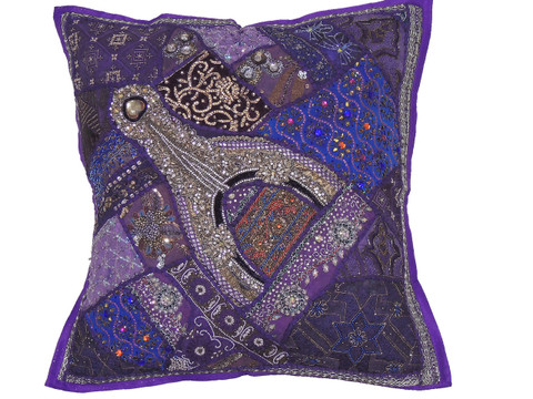 Purple Designer Decorative Floor Pillow Cover - Handmade Beaded Accent Square Euro Sham ~ 26 Inch